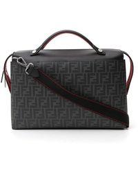 Fendi By The Way Ff Motif Briefcase Bag - Gray