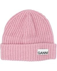 Ganni Logo Patch Ribbed Beanie - Pink