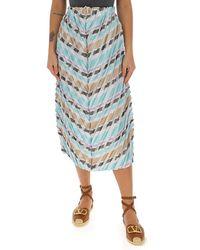 Issey Miyake Multi-stripe Pleated Midi Skirt - Blue