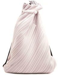 Pleats Please Issey Miyake Suede Link Drawstring Backpack - Gray