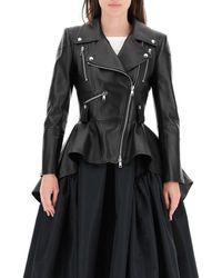 Alexander McQueen Leather Peplum Jacket - Black