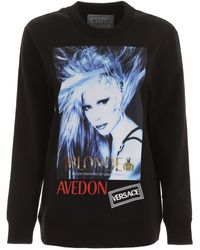 Versace Logo Avedon Printed Sweatshirt - Black
