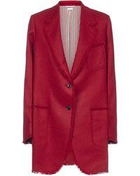 Thom Browne Fray Trim Blazer - Red