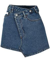 Gcds Twisted Denim Mini Skirt - Blue