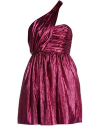Saint Laurent Fuchsia Lamé Mini Dress Nd - Purple
