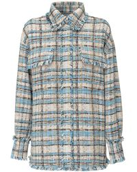 MSGM Tweed Buttoned Shirt Jacket - Blue