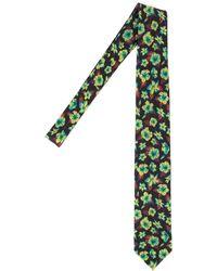 Prada Floral Print Tie - Green
