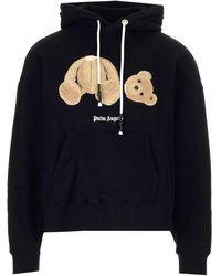 Palm Angels Bear Branded Cotton-jersey Hoody - Black