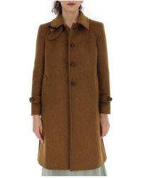 Miu Miu Bow Detail Single-breasted Coat - Brown