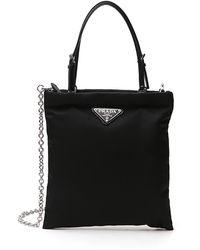 Prada Logo Plaque Tote Bag - Black