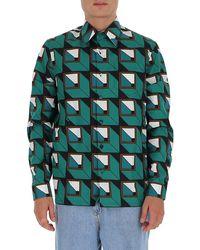 Prada Geometric Print Shirt - Green