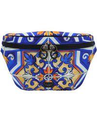 Dolce & Gabbana Maiolica Print Fanny Pack - Blue