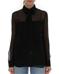 Prada Sheer Bow Collar Blouse - Black