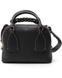 Chloé Medium Leather Daria Top-handle Bag - Blue