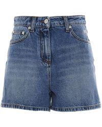 MSGM Logo Printed Denim Shorts - Blue