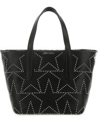 Jimmy Choo Logo Print Embellished Tote Bag - Black
