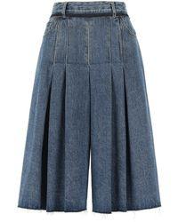 Maison Margiela Wide Leg Denim Shorts - Blue