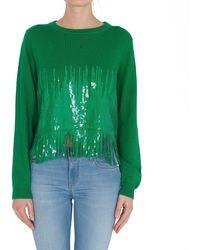 Pinko Sequin Fringed Jumper - Green