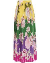 Valentino Floral Print Pleated Midi Skirt - Multicolour
