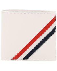 Thom Browne Bifold Wallet Diagonal Embroidery - White