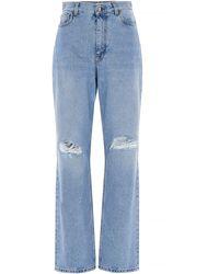 Etro Distressed Straight Leg Jeans - Blue