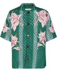 Valentino Crochet Knit Bowling Shirt - Green