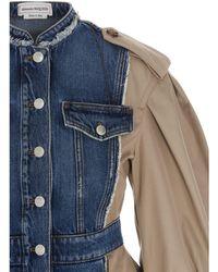 Alexander McQueen Trench Paneled Denim Jacket - Blue
