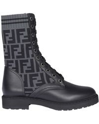 Fendi Rockoko Biker Boots - Black