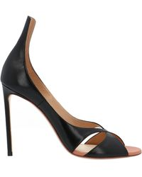 Francesco Russo Crossover Stiletto Sandals - Black