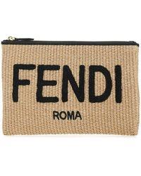 Fendi Logo Embroidered Medium Flat Pouch - Multicolor