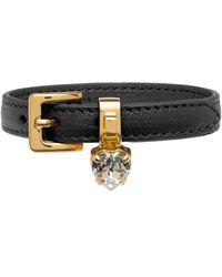 Miu Miu Heart Charm Leather Bracelet - Black
