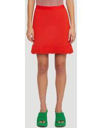 Bottega Veneta Frayed Hem Knit Skirt - Red