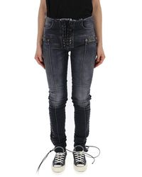 Unravel Project Lace-up Skinny Jeans - Blue