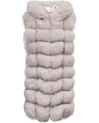 FRAME Checked Fur Vest - Pink