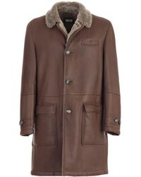 Brunello Cucinelli Single Breasted Leather Coat - Brown