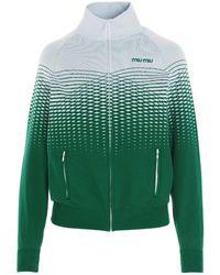 Miu Miu Gradient Patterned Zipped Jacket - Green