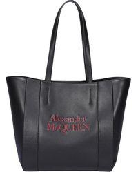 Alexander McQueen Signature Logo Tote Bag - Black