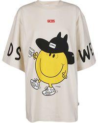 Gcds Oversized Mr. Messy T-shirt - Natural