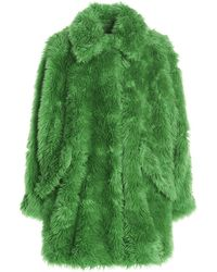 MSGM Faux Fur Single-breasted Coat - Green
