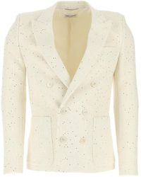 Saint Laurent Sequin Embroidered Double-breasted Jacket - Natural