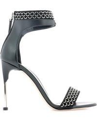 3d3faef7f47 Lyst - Alexander McQueen Black Leather Goldstudded Cage Heels in Black