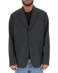 Prada Oversize Pinstriped Blazer - Black