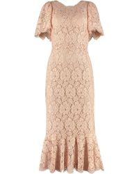 Dolce & Gabbana Lace Midi Dress - Pink
