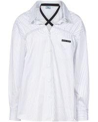 Prada Crossover Detail Striped Shirt - White