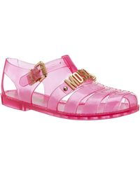 Moschino Logo Plaque Jelly Sandals - Pink
