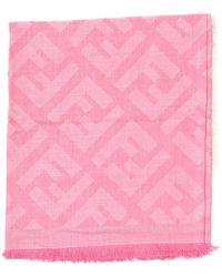 Fendi Ff All-over Logo Print Scarf - Pink