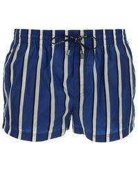 Dolce & Gabbana Striped Drawstring Swim Shorts - Blue
