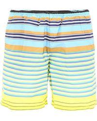 Prada Yellow And Blue Multi Line Swim Shorts - Multicolor