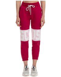 Gcds Women's Sport Tracksuit Trousers Logo - Red