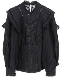 Étoile Isabel Marant Reign Paisley Blouse With Embroidered Lace 34 Cotton - Black